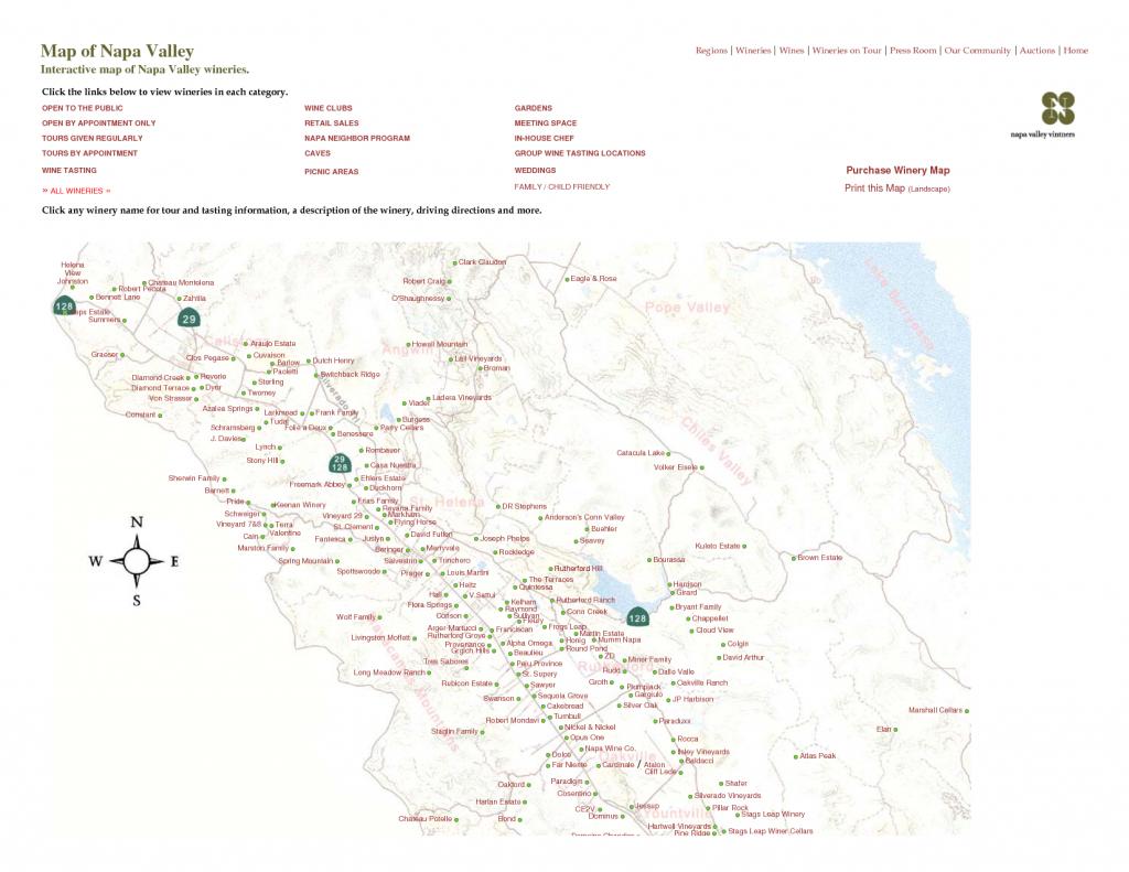 Printable Napa Wine Map | Map Of Napa Valley Interactive Map Of Napa - Printable Napa Winery Map