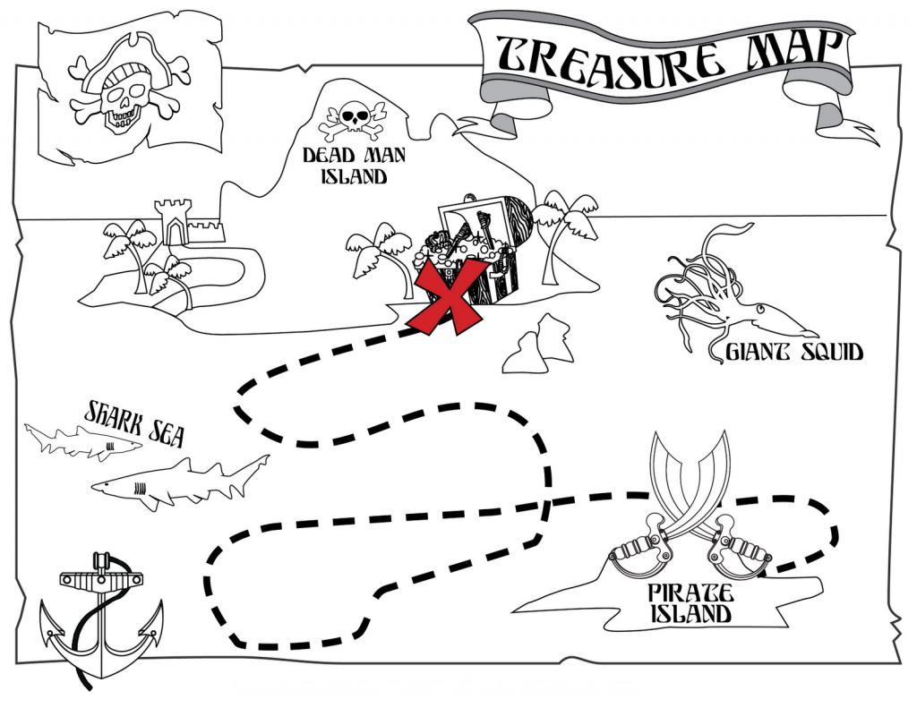 Printable Pirate Treasure Map Coloring Page | Pre-K Stuff | Pirate - Printable Pirate Maps To Print
