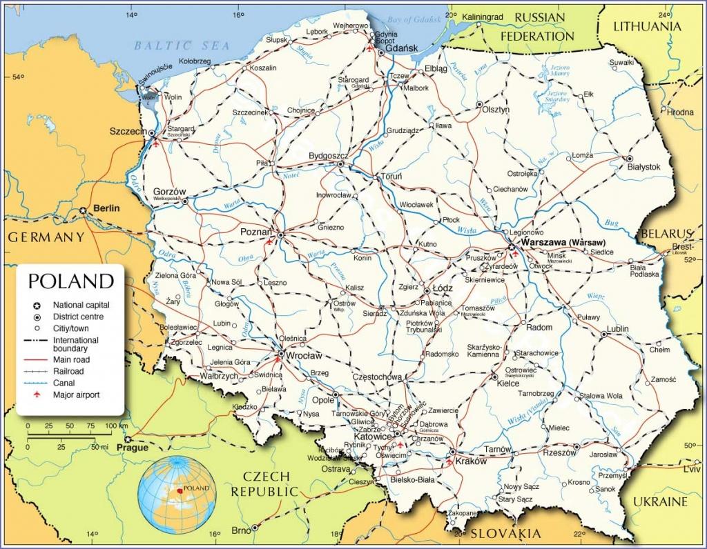 Printable Poland Maps,map Collection Of Poland,poland Map With - Printable Map Of Poland