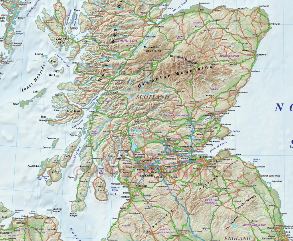 Printable Road Map Of Scotland And Travel Information   Download - Detailed Map Of Scotland Printable