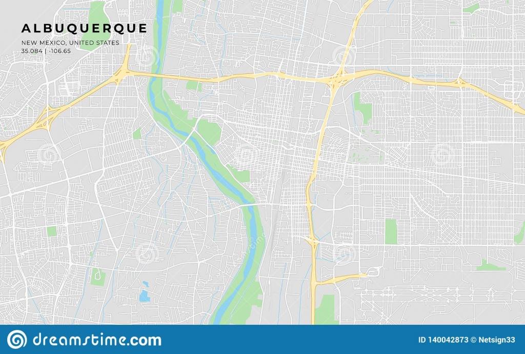 Printable Street Map Of Albuquerque, New Mexico Stock Vector - Printable Map Of Albuquerque