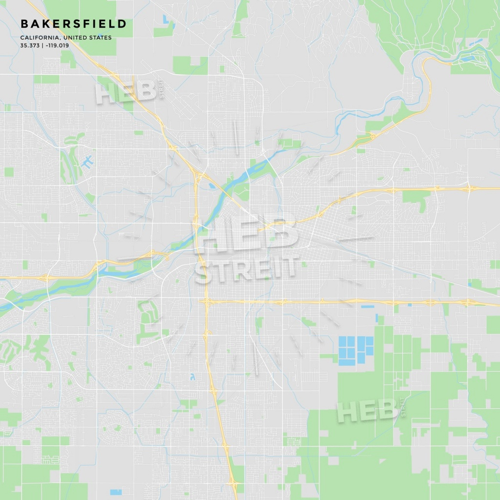 Printable Street Map Of Bakersfield, California | Hebstreits Sketches - Printable Map With Pins