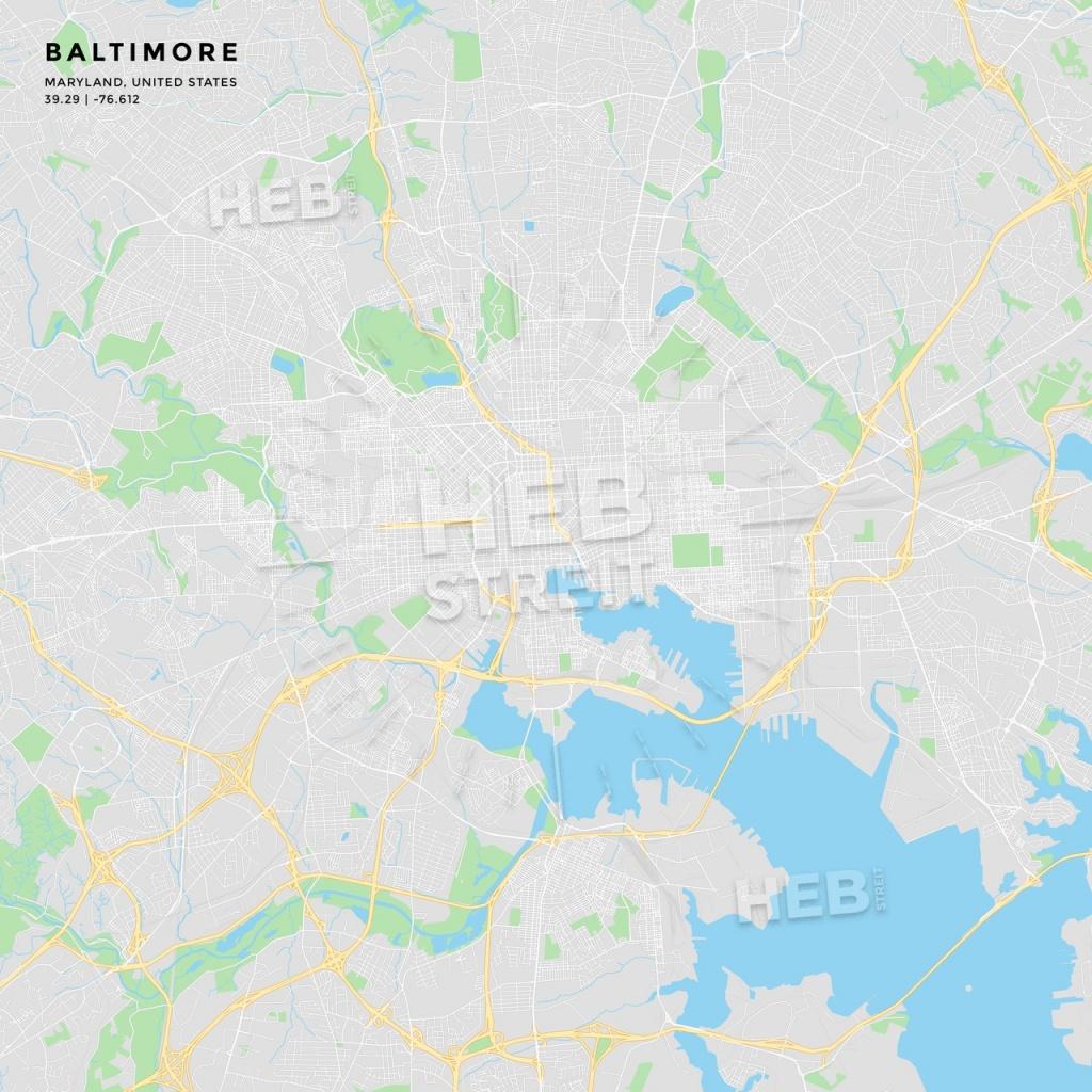 Printable Street Map Of Baltimore, Maryland   Hebstreits Sketches - Printable Map Of Baltimore