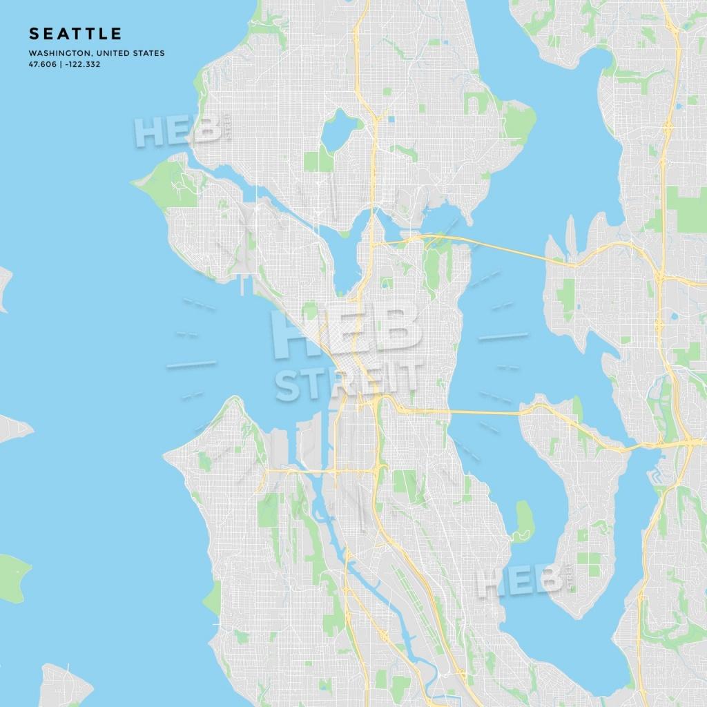Printable Street Map Of Seattle, Washington   Hebstreits Sketches - Printable Map Of Seattle
