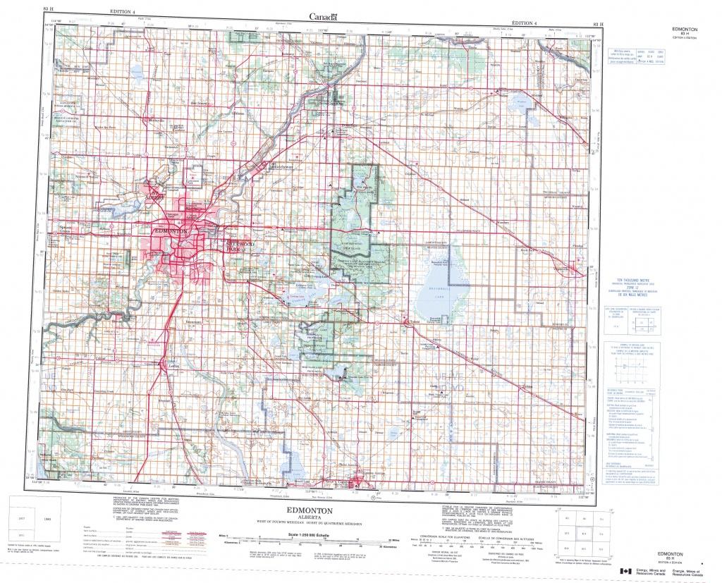 Printable Topographic Map Of Edmonton 083H, Ab - Printable Map Of Edmonton