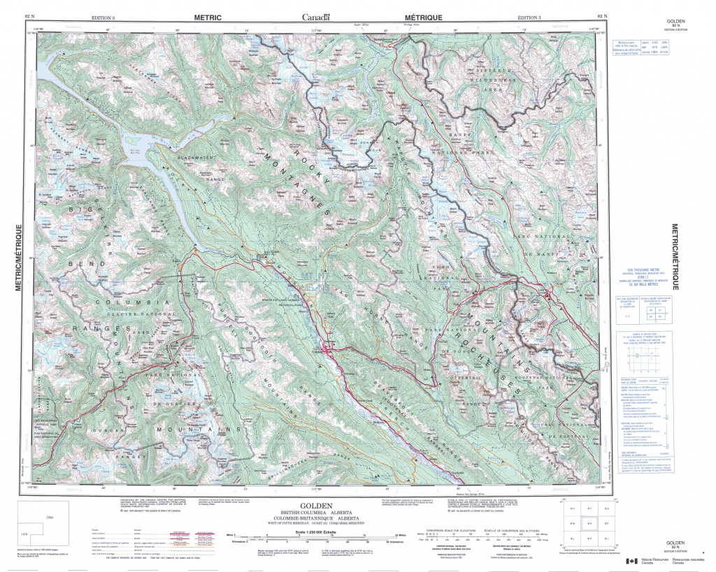 Printable Topographic Map Of Golden 082N, Ab - Printable Topographic Maps Free