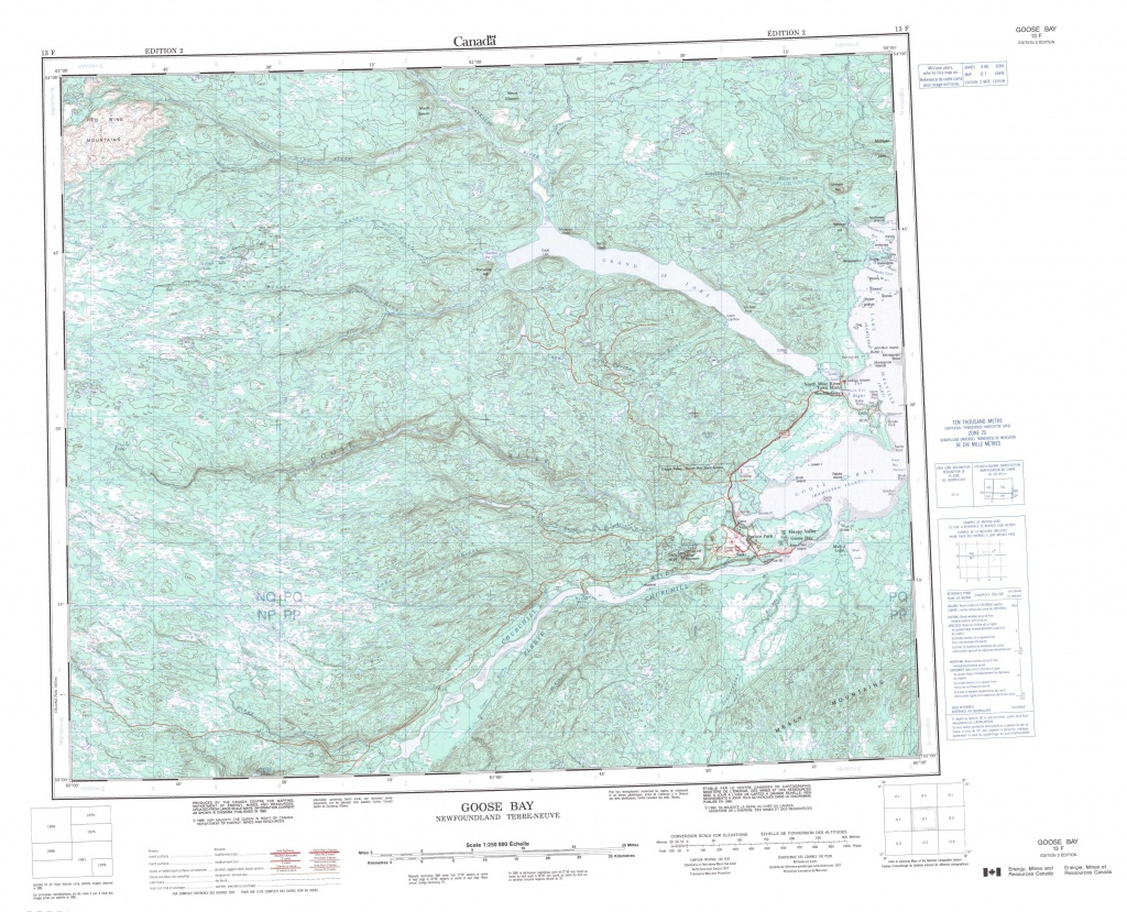 Printable Topographic Map Of Goose Bay 013F, Nf - Free Printable Topo Maps Online