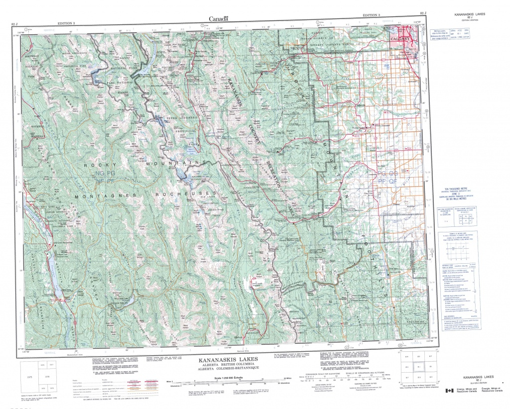 Printable Topographic Map Of Kananaskis Lakes 082J, Ab - Printable Map Of Alberta