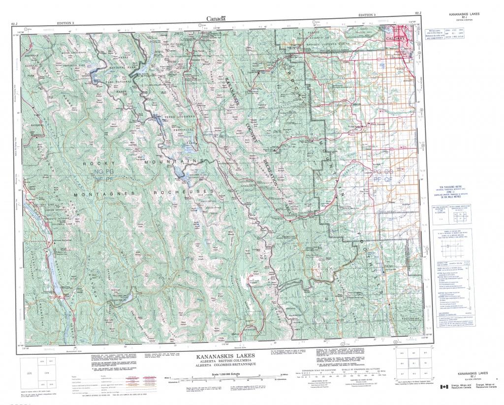 Printable Topographic Map Of Kananaskis Lakes 082J, Ab - Printable Topographic Maps Free