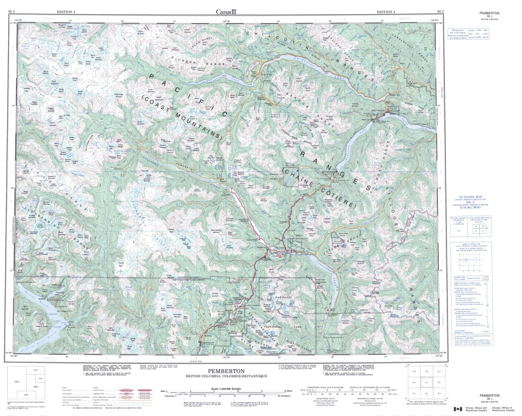 Printable Topographic Map Of Pemberton 092J, Bc - Printable Topo Maps Online