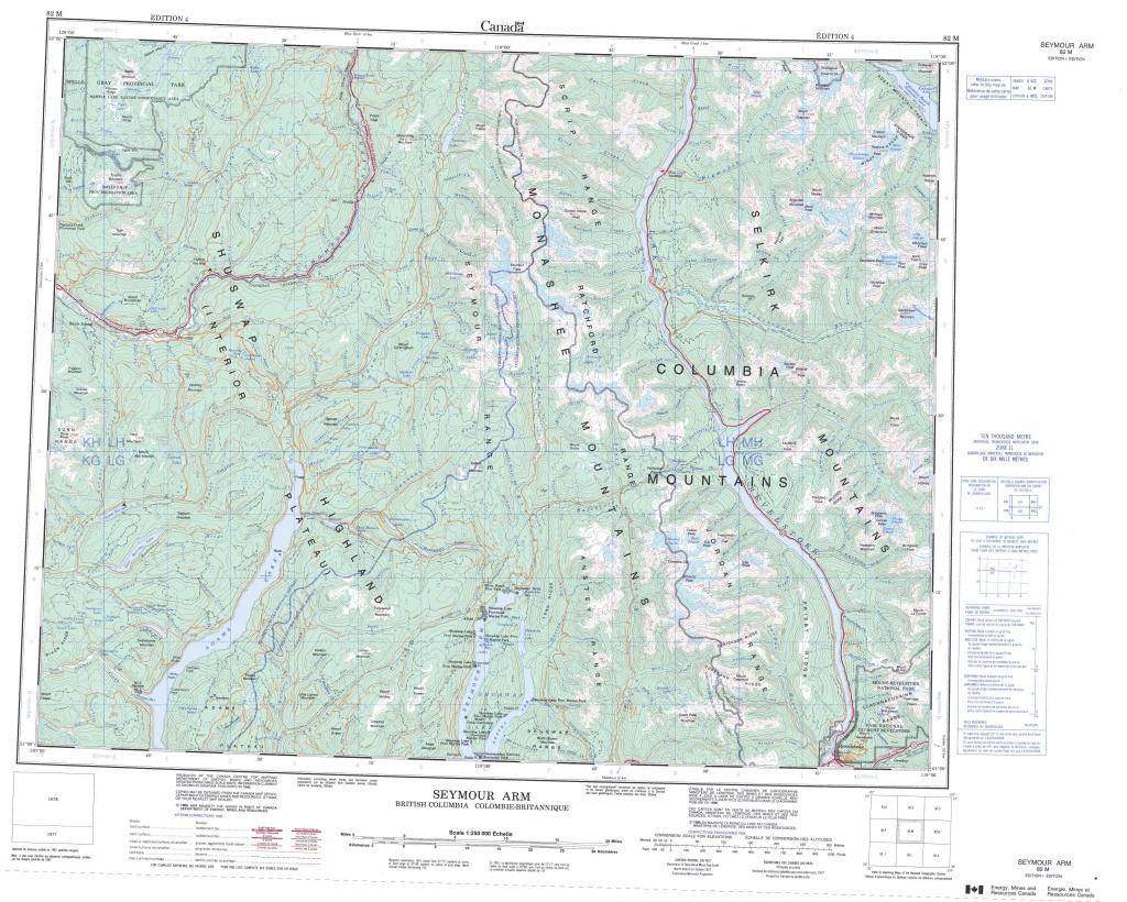 Printable Topographic Map Of Seymour Arm 082M, Bc - Free Printable Topo Maps Online