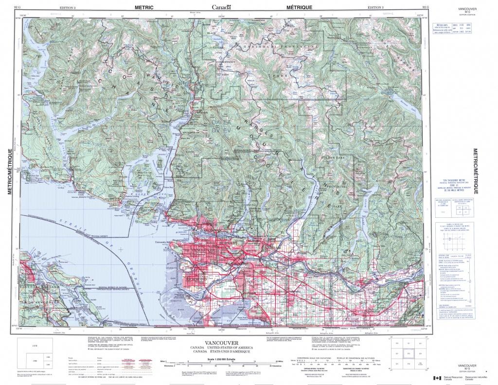 Printable Topographic Map Of Vancouver 092G, Bc - Printable Topo Maps
