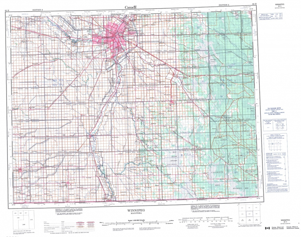 Printable Topographic Map Of Winnipeg 062H, Mb - Printable Topographic Maps