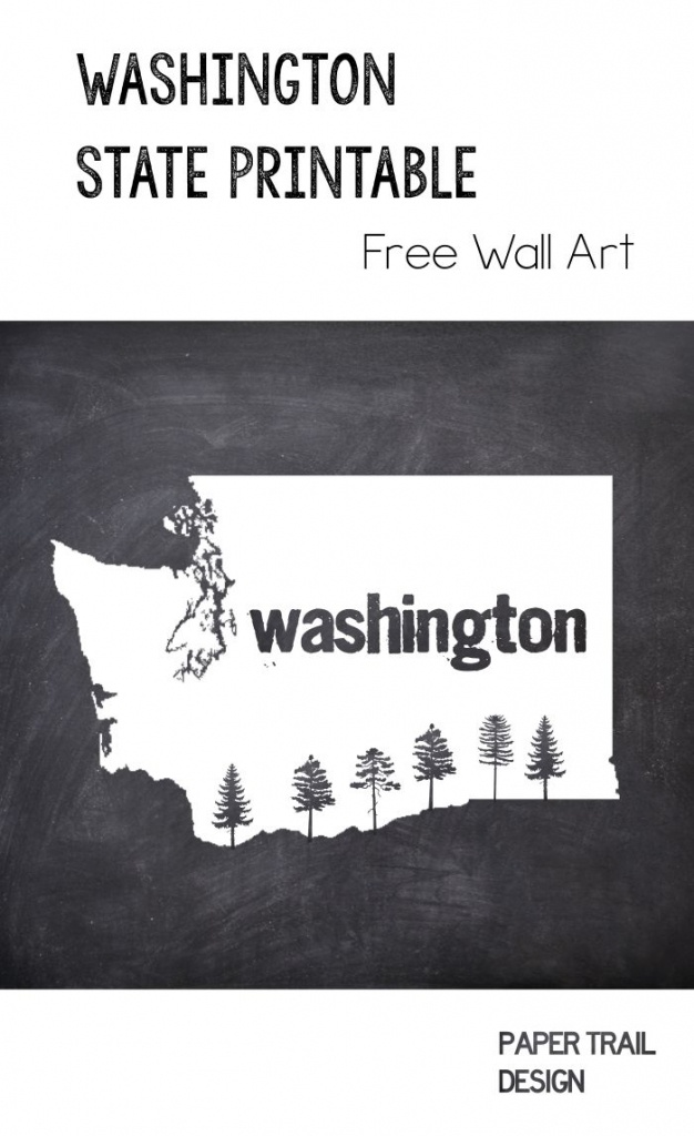 Printable Wall Art: Washington State Silhouette With Trees | Free - Free Printable Map Of Washington State
