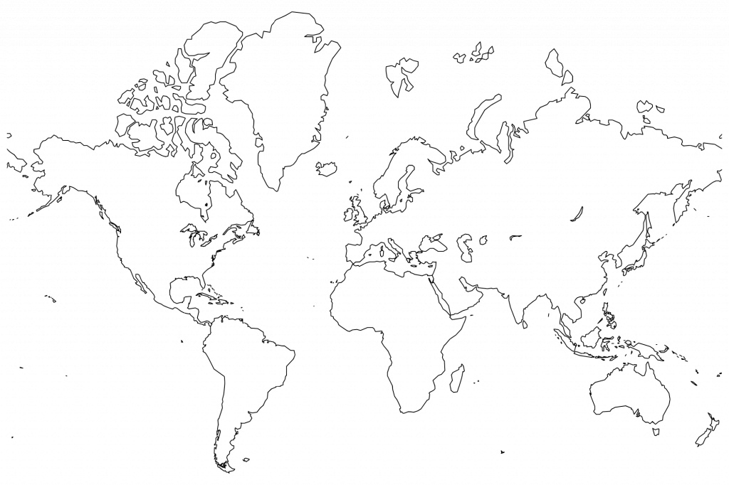 Printable World Maps In Black And White And Travel Information - World Map Black White Printable