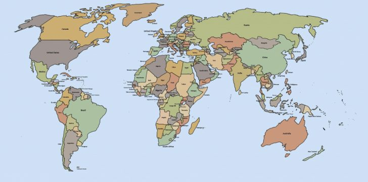 Printable World Map With Countries Labeled
