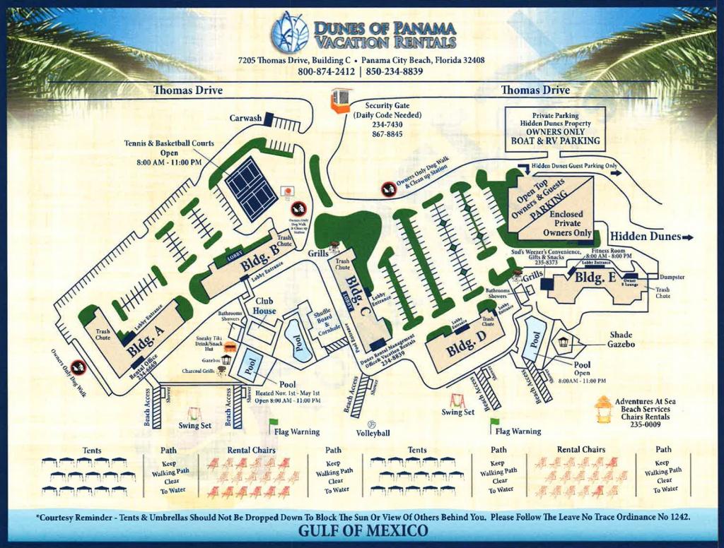Property Map For Vacation Beach Condos   Dunes Of Panama - Map Of Panama City Beach Florida
