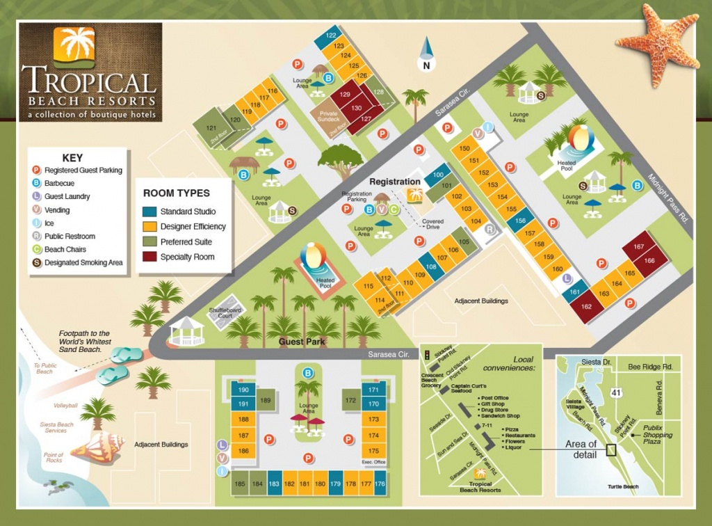 Property Map - Tropical Beach Resorts, Siesta Key Fl - Map Of Hotels In Siesta Key Florida