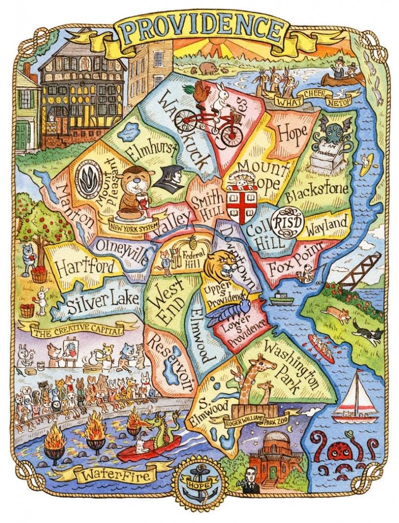 Providence Rhode Island Art Map 11 X 14 | Etsy - Printable Map Of Providence Ri
