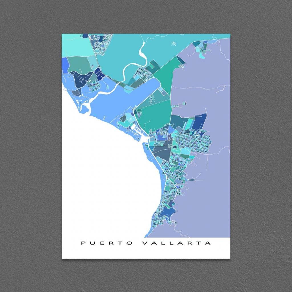 Puerto Vallarta Map Print Puerto Vallarta Mexico Art Mexico | Etsy - Puerto Vallarta Maps Printable
