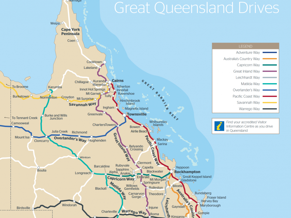Queensland Drive Maps | Outback Queensland - Printable Map Of Queensland