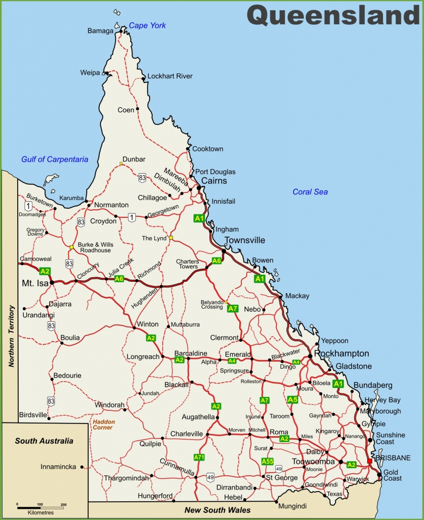 Queensland Highway Map - Queensland Road Maps Printable
