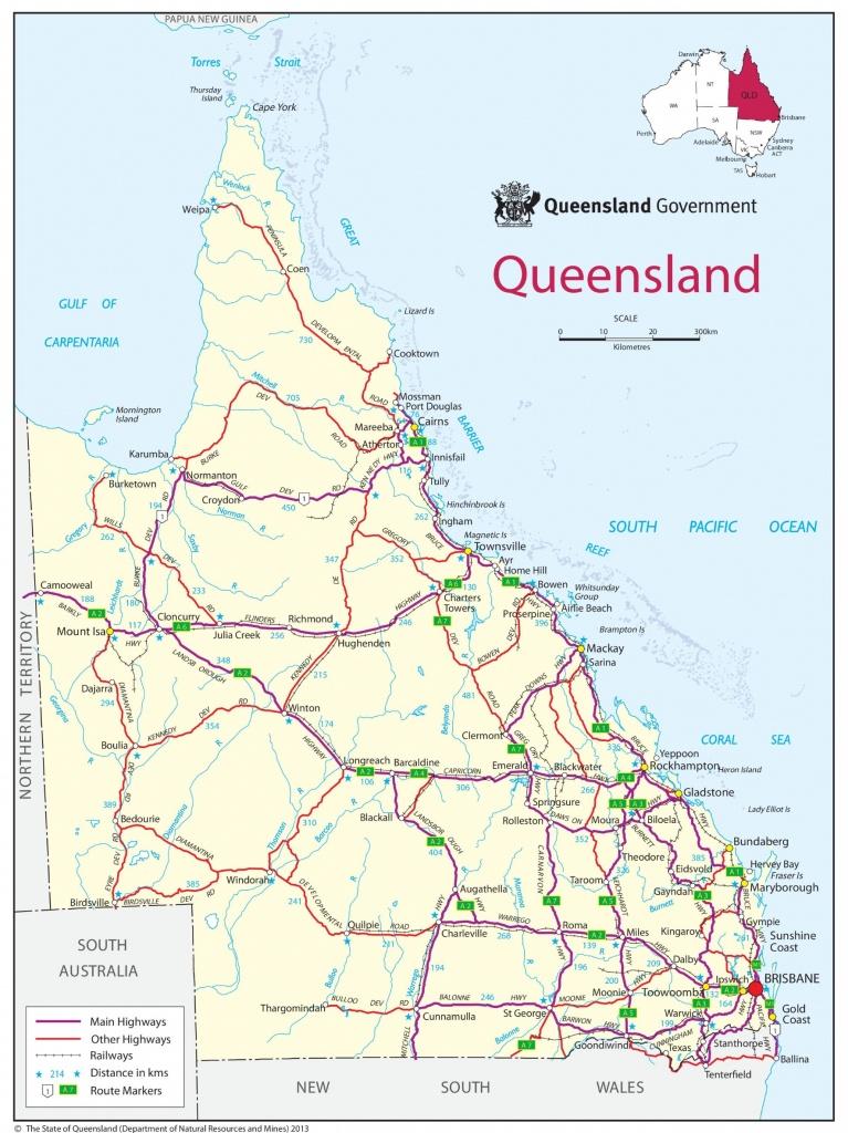 Queensland Road Map - Printable Map Of Queensland