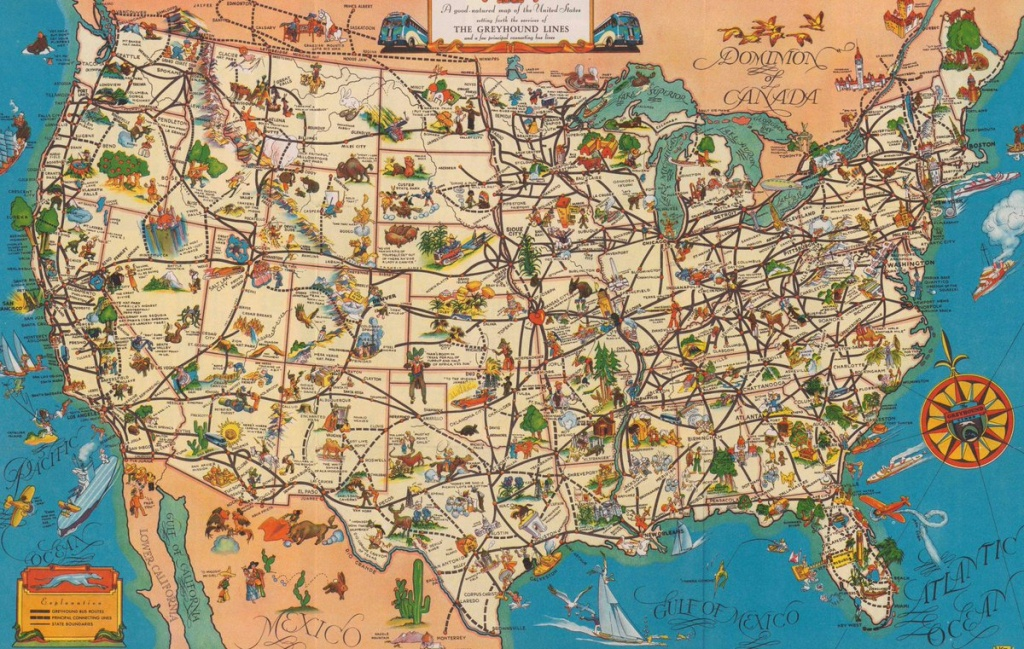 "Quite Interesting On Twitter: ""a 1935 'good-Natured Map' Of - Greyhound Map California"