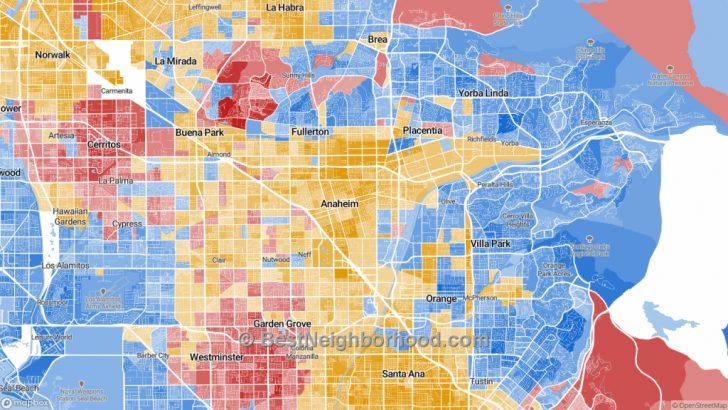 Map Showing Anaheim California