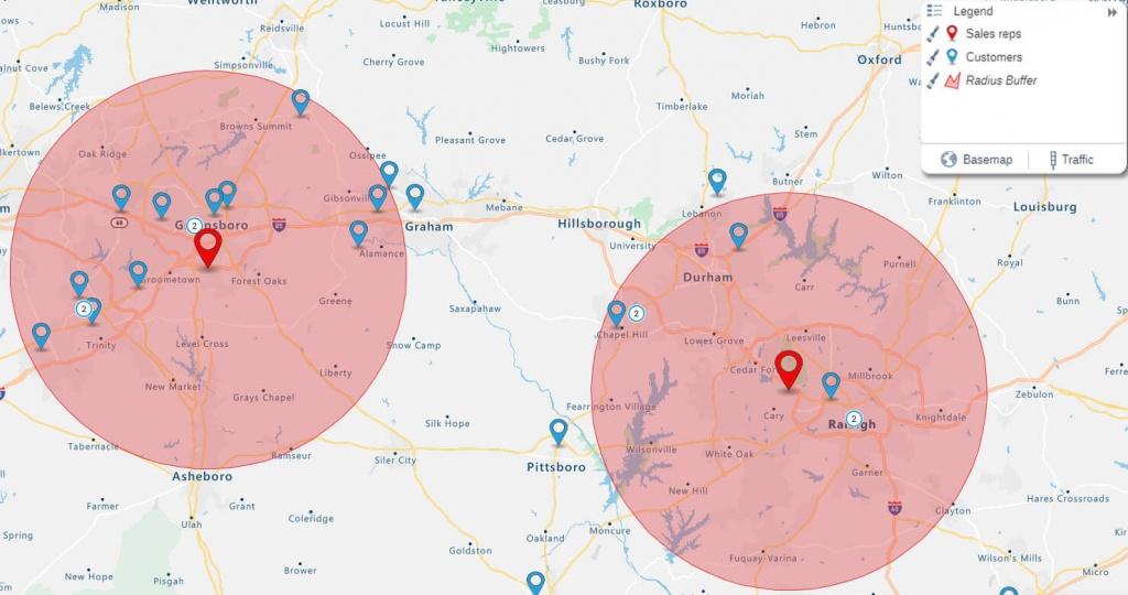Radius Map: How To Start Analyzing Your Data | Espatial - Printable Radius Map