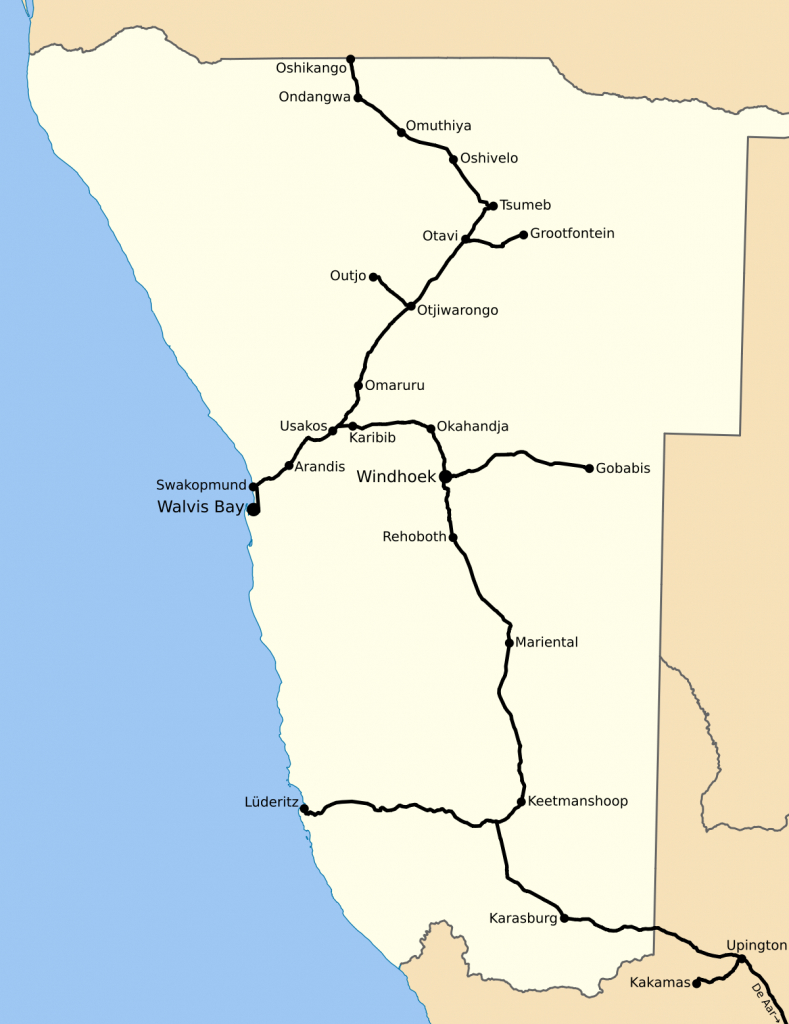 Rail Transport In Namibia - Wikipedia - Printable Road Map Of Namibia