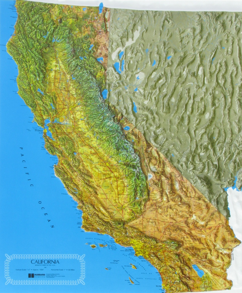 Raised Relief Maps Of California - California Raised Relief Map