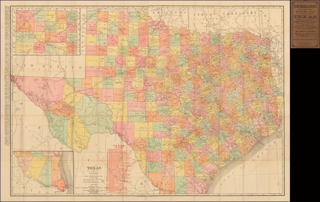 Rand Mcnally & Co.'s Indexed County And Railroad Pocket Map And - Rand Mcnally Texas Road Map