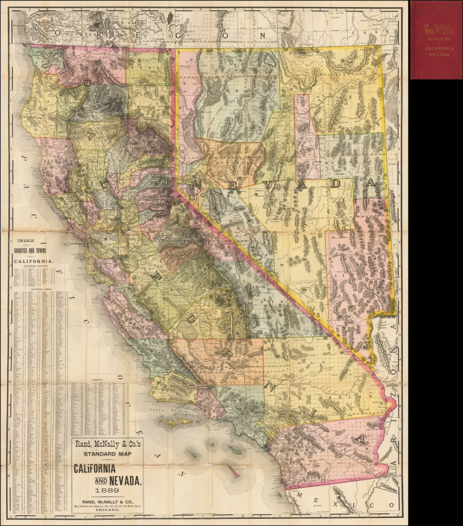 Rand, Mcnally & Co.'s Standard Map Of California And Nevada 1889 - Map Of California And Nevada