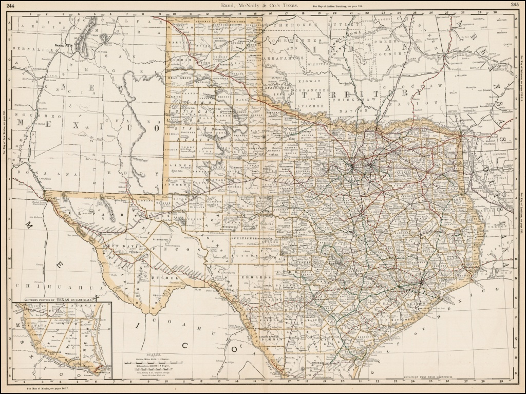 Rand Mcnally & Co.'s Texas - Barry Lawrence Ruderman Antique Maps Inc. - Rand Mcnally Texas Road Map