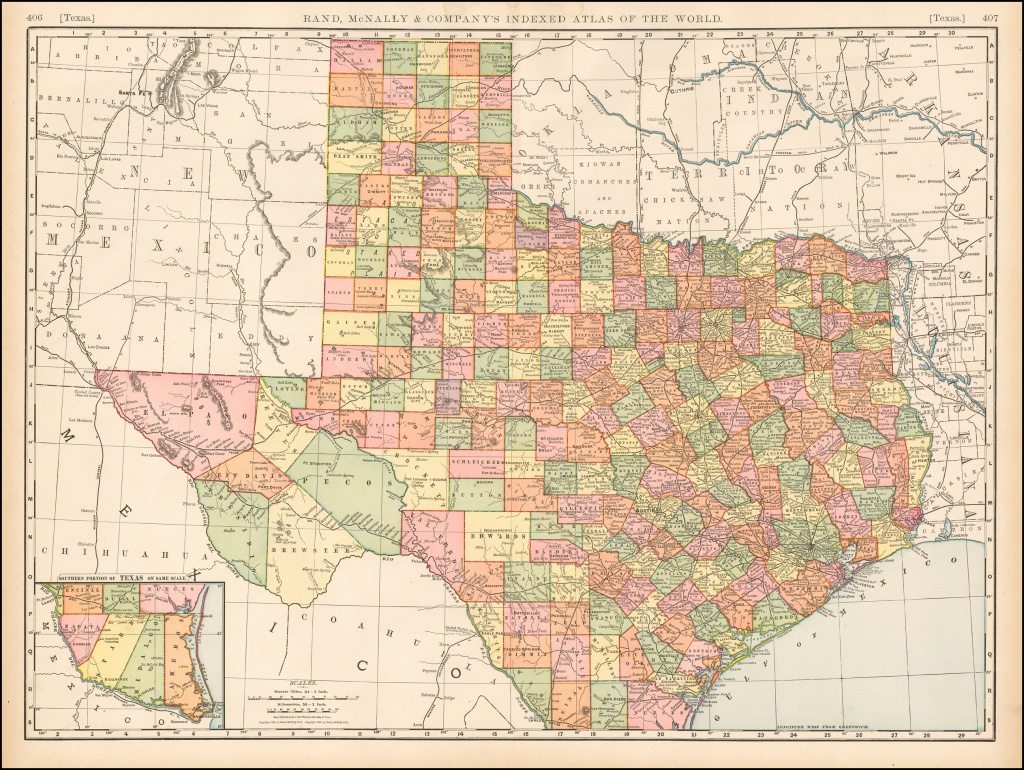 Rand Mcnally & Company's Indexed Atlas Of The World Map Of Texas - Rand Mcnally Texas Road Map