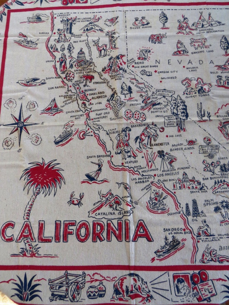 Rare 1940S Vintage California State Map Tablecloth, California - Vintage California Map Tablecloth