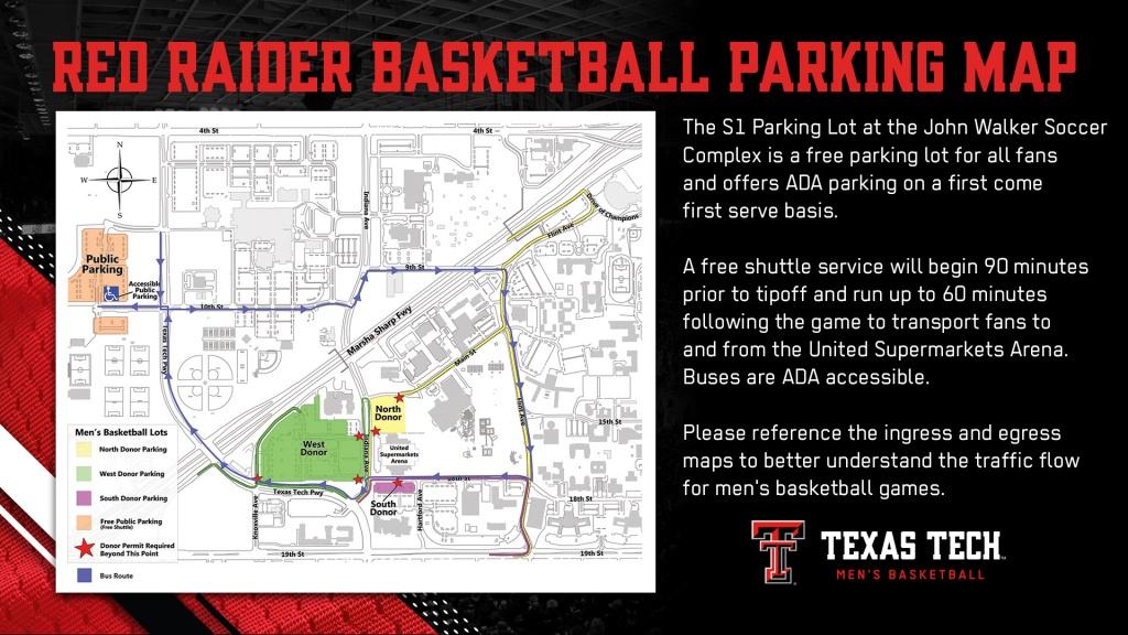 Red Raider Basketball Parking & Transportation Info - Texas Tech - Texas Tech Football Parking Map 2017