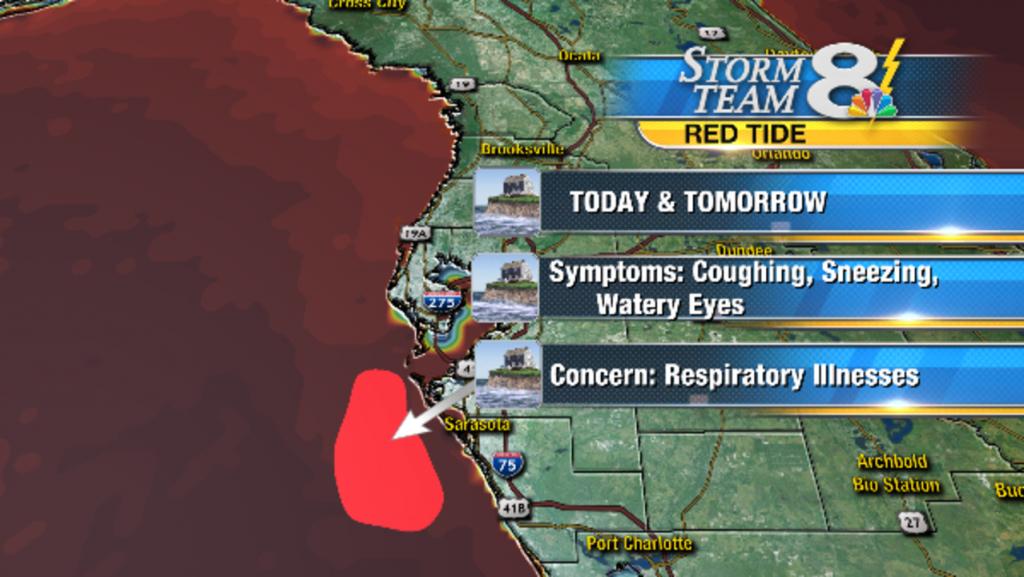 Red Tide Detected Off Sarasota Coast - Current Red Tide Map Florida