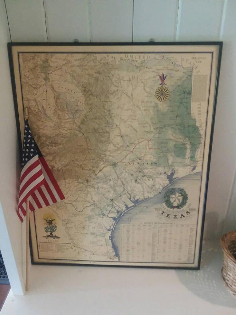 Reduced:vintage Texas Map Large Framed Nap Of Texas Texas   Etsy - Vintage Texas Map Framed