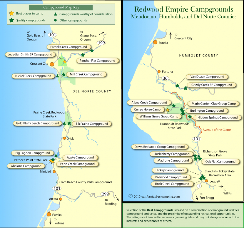 Redwood Empire Campground Maps - Redwoods Northern California Map