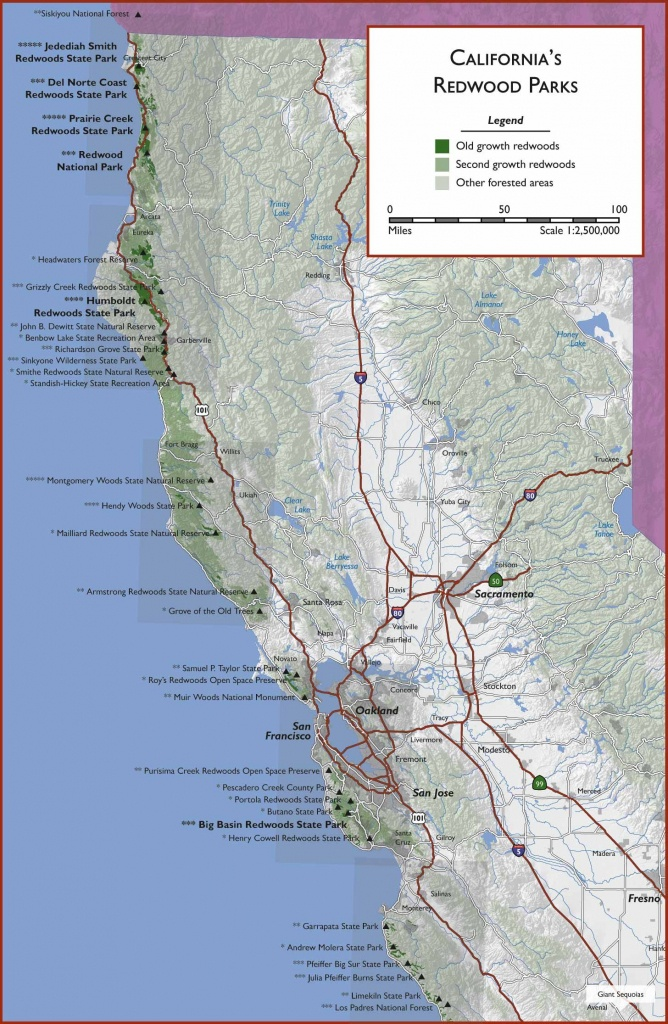 Redwood Hikes All Along The Coast. Links To How To Get To The Places - Northern California Hiking Map