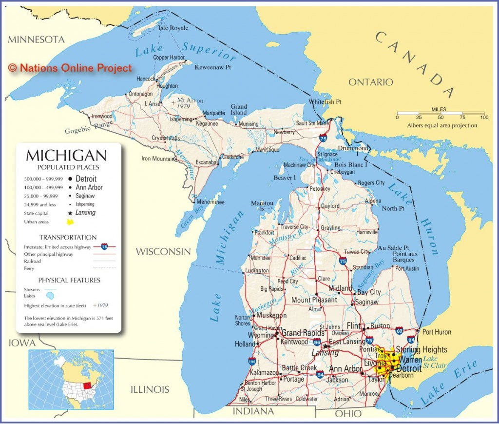 Reference Map Of Michigan, Usa - Nations Online Project | ~ The - Printable Map Of Michigan