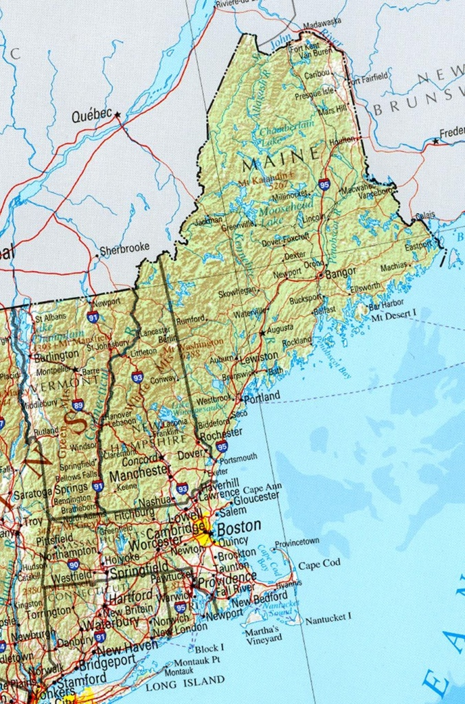 Reference Map Of New England State, Ma Physical Map | Crafts - Printable Map Of Maine Coast