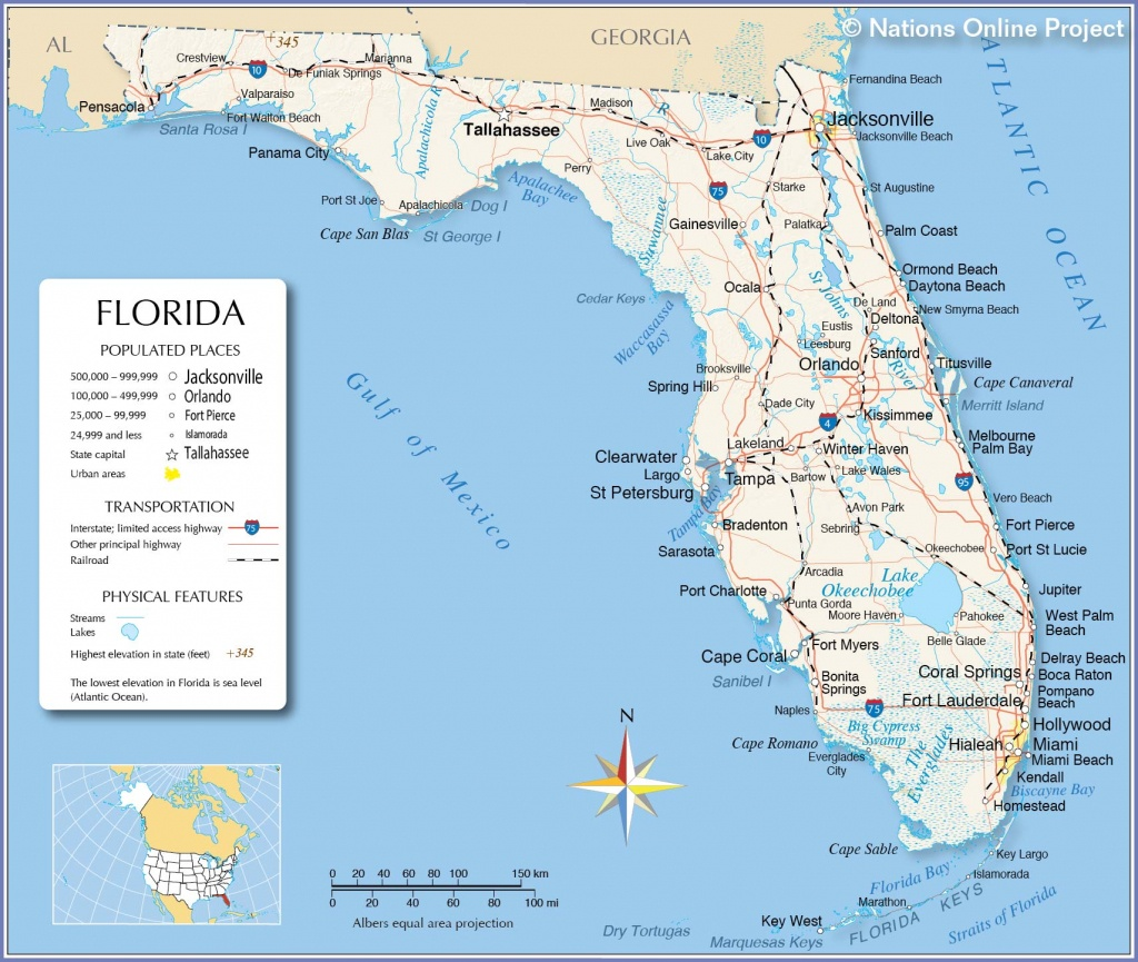 Reference Maps Of Florida, Usa - Nations Online Project - Map Of Florida East Coast Beach Towns