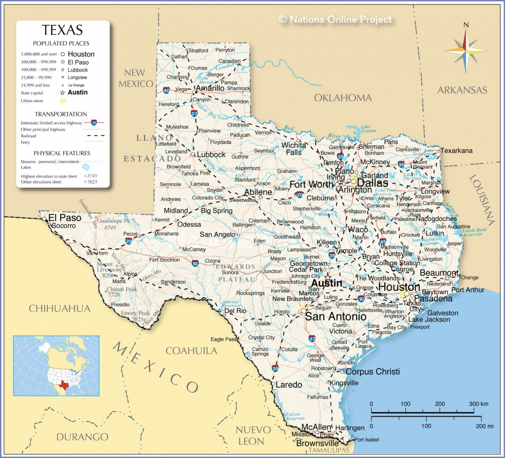 Reference Maps Of Texas, Usa - Nations Online Project - Map Of Texas Cities And Towns