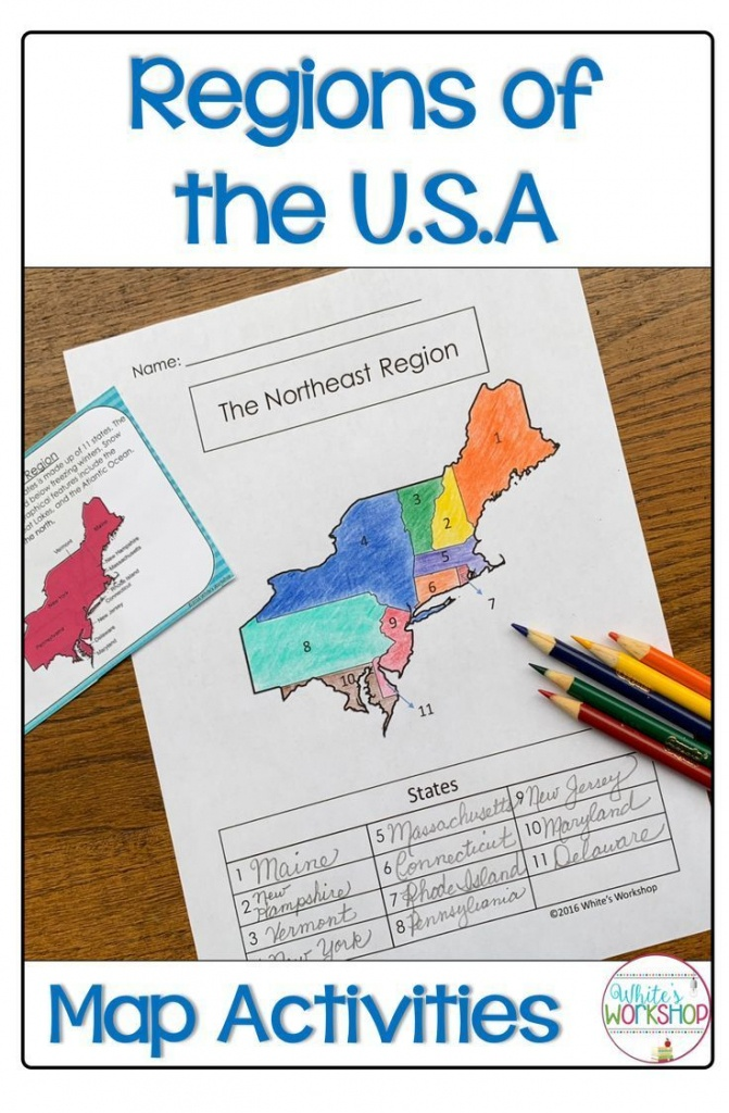 Regions Of The United States Map Activities   My 4Th Grade Favorites - 5 Regions Of The United States Printable Map