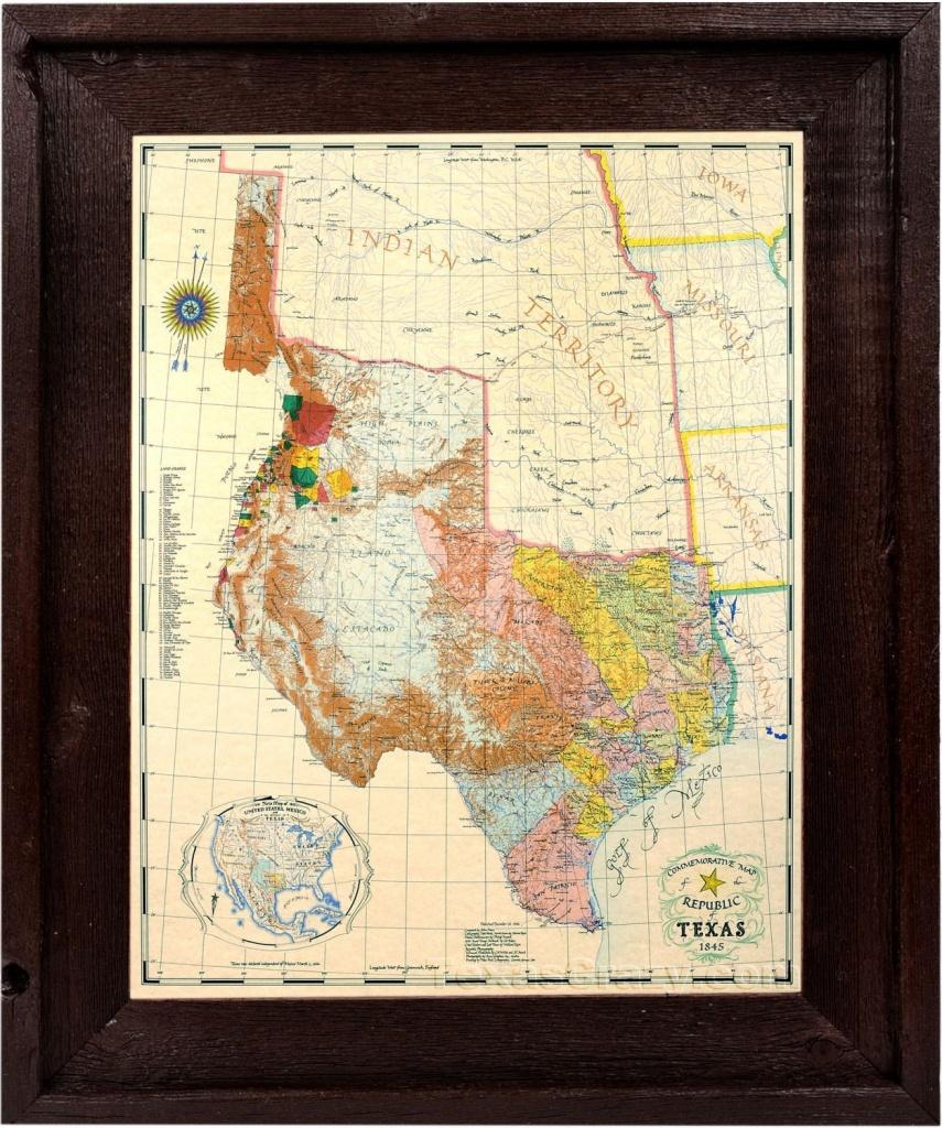 Republic Of Texas Map 1845 Custom Framed In Dark Stained | Etsy - Framed Texas Map