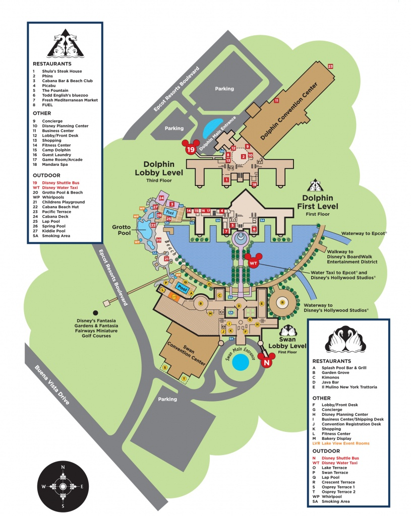 Resort Map - Welcome App - Swan And Dolphin Hotel - Disney Hotels Florida Map