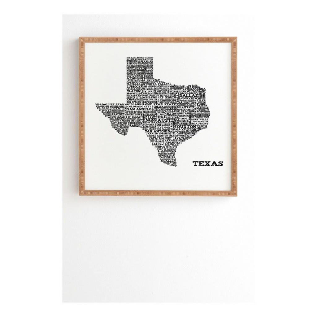 "Restudio Designs Texas Map Framed Wall Art 12"" X 12"" - Deny Designs - Texas Map Framed Art"